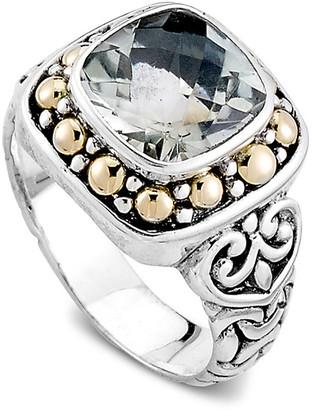 Samuel B. 18K & Silver 3.00 Ct. Tw. Green Amethyst Filigree Ring