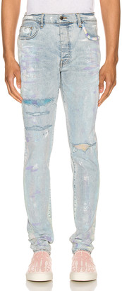Amiri Painter Tie Dye Patch Jean in Sky Indigo | FWRD
