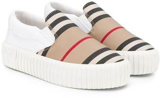 BURBERRY KIDS Striped Slip-On Trainers