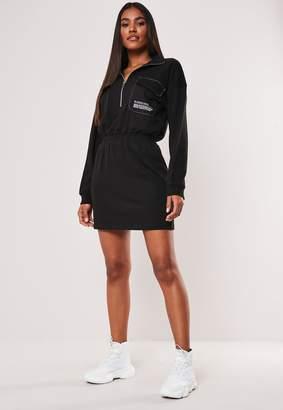 Missguided Black Zip Through High Neck Slogan Dress