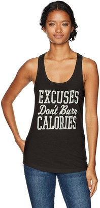 Chin Up Chin-Up Women's Excuses Don't Burn Calories Ideal Racerback Graphic Tank Top