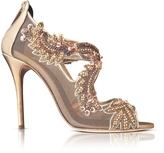 Oscar de la Renta Ambria Bronze Metallic Nappa w/Embroidery Mesh High Heel Sandals