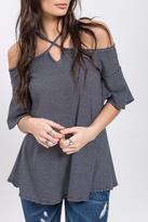 Blu Pepper Crisscross Knit Top