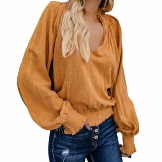 Sunday77 Blouse Women Blouse Top Sunday77 V-Neck Solid Linen Short Puff Sleeve Ruched Loose Long Sleeve Casual Shirt Pullover Khaki