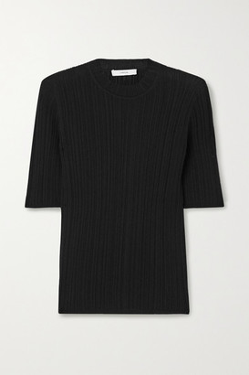 Vince Ribbed Cotton Top - Black