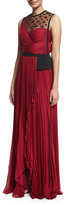 J. Mendel Sleeveless Embellished Plisse Gown, Ruby/Noir