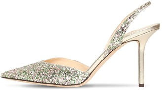 Jimmy Choo 85mm Thandi Glitter Slingback Pumps