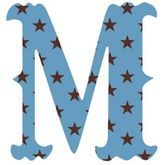 "Wall Candy Arts WallCandy Arts WallCandy Luv Letters Stars Letter ""M"" Wall Decal in Blue"