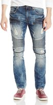 WT02 Men's Premium Denim Pants Long with Quilted Moto Biker and Zippered Pocket