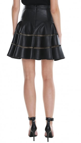 Tibi Aria Leather Flirty Skirt