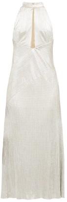 Galvan Halterneck Metallic-jersey Dress - Womens - Silver