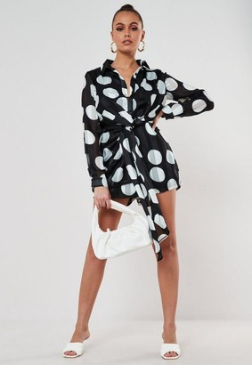 Missguided Polka Dot Chiffon Drape Playsuit
