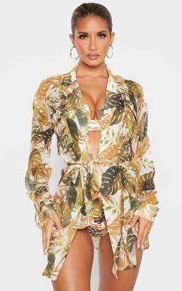 PrettyLittleThing Mustard Leaf Utility Beach Shirt