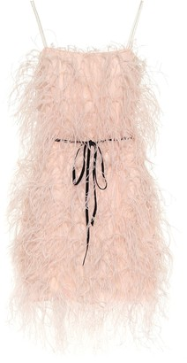 Monique Lhuillier Feather-trimmed tulle minidress