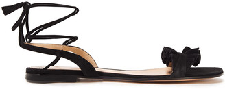 Gianvito Rossi Flora Ruffle-trimmed Suede Sandals