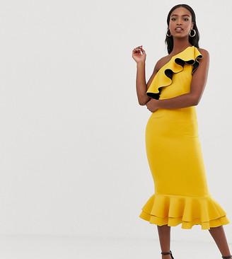 Asos Tall DESIGN Tall one shoulder ruffle structured pep hem bodycon dress-Yellow