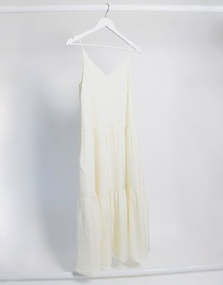 And other stories & tiered cami midi dress in off-white