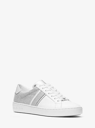 Michael Kors Irving Glitter Chain-Mesh and Leather Sneaker