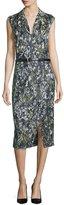 Jason Wu Sleeveless Embroidered Dress W/Belt, Navy/Basil