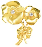 Givenchy Matte Gold Tone Metal Rhinestone Crystal Poppy Flower Brooch Pin
