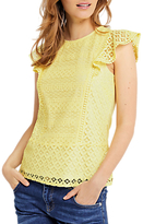 Oasis Patched Lace Shell Top, Mid Yellow
