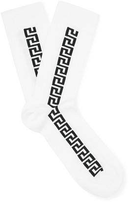 Versace Logo-Intarsia Stretch Cotton-Blend Socks