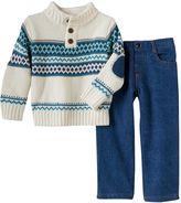 Baby Boy Boys Rock Geometric Henley Sweater & Jeans Set