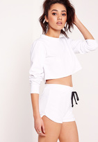 Missguided Petite Exclusive Textured Runner Shorts White