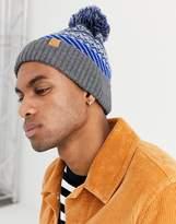 Boardmans fairisle bobble beanie hat in blue