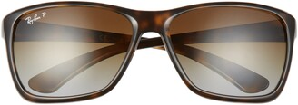 Ray-Ban 61mm Gradient Polarized Square Sunglasses