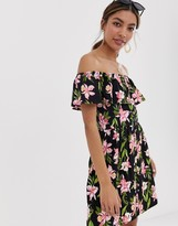 Asos Design DESIGN mini button through sundress with tiered skirt in floral print
