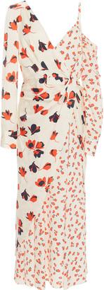 Self-Portrait Cold-Shoulder Floral-Print Crepe De Chine Dress