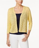 Charter Club Petite Diamond-Stitch Open-Front Cardigan, Only at Macy's