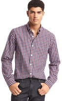 Gap True wash micro windowpane slim fit shirt