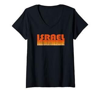 Womens Vintage Grunge Style Israel V-Neck T-Shirt