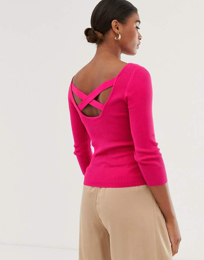 47566aa7be0 cross-back ribbed jumper in pink