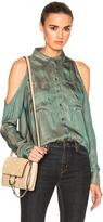 Veronica Beard Calvin Pleated Cold Shoulder Top in Green,Metallics.