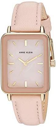 Anne Klein Women's Gold-Tone and Blush Pink Leather Strap Watch
