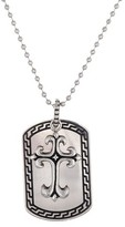 Sanctify Men's Stainless Steel Dog Tag & Cross Pendant with Black Enamel - Silver