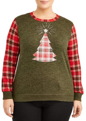 Tru Self Women's Plus Size Long Sleeve Plaid Sleeve Tee for Holiday
