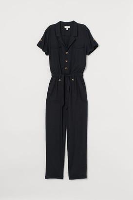 H&M Linen-blend Jumpsuit - Black