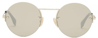 Fendi Ff-engraved Rimless Round Metal Sunglasses - Gold