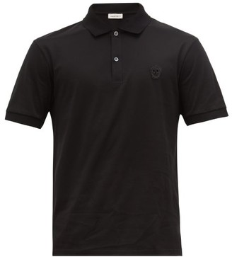 Alexander McQueen Zardozi Embroidered-skull Cotton-jersey Polo Shirt - Black