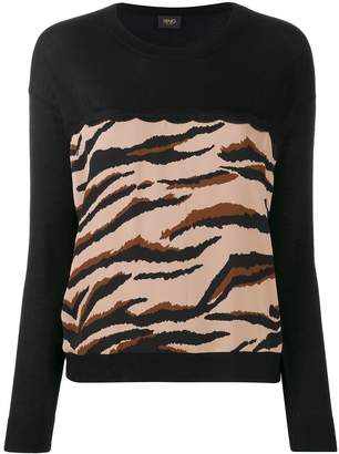 Liu Jo contrast panel tiger print sweater