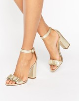 Miss KG Flounce Gold Bow Heeled Sandals