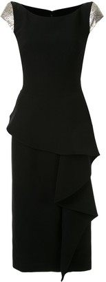 Draped-Detail Cap Sleeve Dress