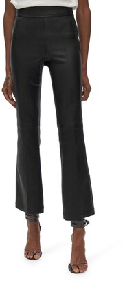 Helmut Lang Crop Flare Leather Pants