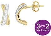 Evoke Sterling Silver Gold Plated & Swarovski Elements Kiss Stud Earrings