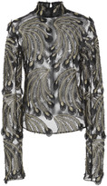 Sally LaPointe Embroidered Lurex Feathers Skip Top