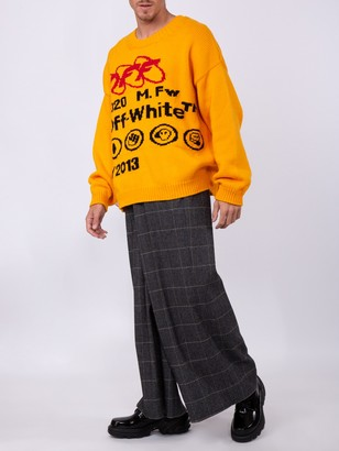 Off-White Grey Check Print Trousers